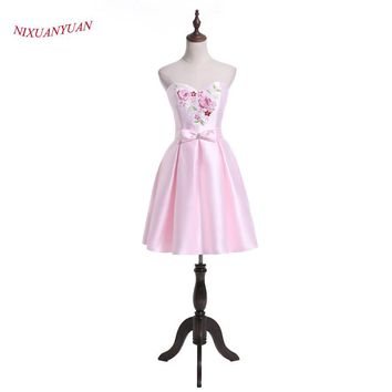 NIXUANYUAN 2017 New Design Beauty Prom Party Dress Short Pink Satin Cocktail Dress 2017 vestidos de cocktail With Bow and Pocket