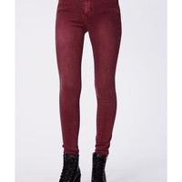 Missguided - Cecily High Waist Supersoft Skinny Jeans Wine