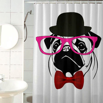 PUG crazy custom shower curtain by jedingwatukali