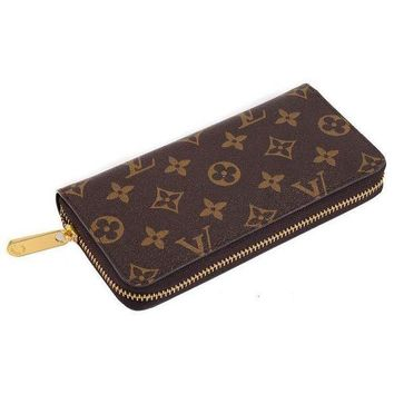 LV Louis Vuitton Trending Women Print Leather Zipper Wallet Purse I