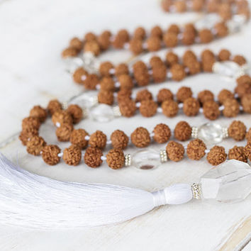 Rudraksha silver mala beads, Crystal quartz 108 mala beads, White tassel mala necklace, Rosary beads, Healing crystals and stones