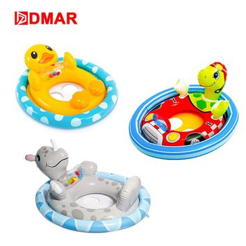 DMAR Inflatable Kids Pool Rider Floats Toys Swiming Ring Duck Turtle Sit Tube Lifebuoy Water Beach Party Flamingo Unicorn Donut