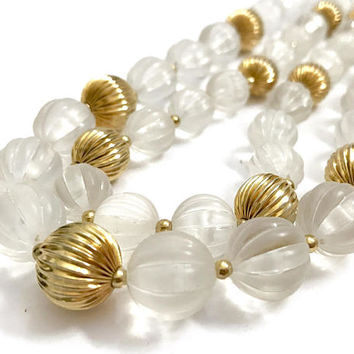Two Strand Bead Necklace, Frosted Clear Lucite Melon Beads, Ribbed Gold Tone Beads, Gold Spacers, Statement Necklace, Vintage Gift for Her