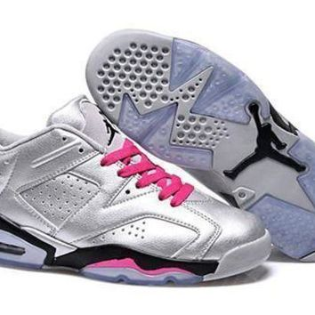 DCK7YE Hot Air Jordan 6 Low Women Shoes Silver Black Pink