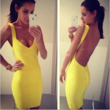 Fashion Backless Spaghetti Strap Bandage Dress