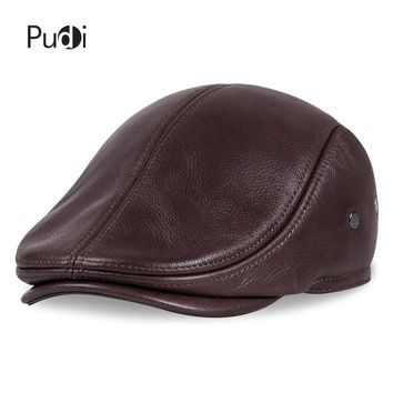 3253753a HL042 Spring Men's Real Genuine cow Leather baseball Cap brand N