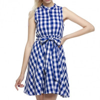 Women Summer Sleeveless Plaid Mini Shift Dress