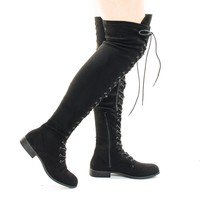 Oksana308 Black Over Knee Thigh High Lace Up Military Corset Boots