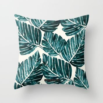 Jungle Leaves Throw Pillow by CRYSTAL WALEN