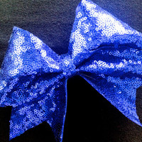 Royal Blue Sequin Cheer Bow by Bowfriendz on Etsy