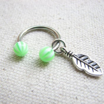 Circular Barbell Belly Button Ring - Silver Feather Belly Ring, Horseshoe Belly Button Jewelry, Green Acrylic Ball Belly Button Navel Ring