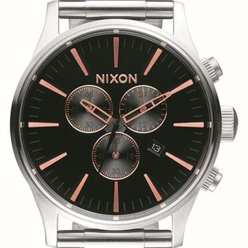Women's Nixon 'Sentry' Chronograph Bracelet Watch, 42mm - Silver/ Black/ Rose Gold