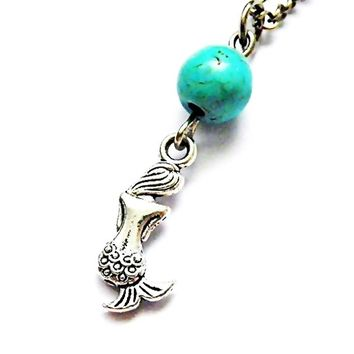mystical mermaid pendant with customized birthstone crystal necklace