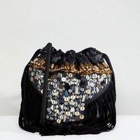 Park Lane Festival Embroidered Real Leather Pouch Shoulder Bag at asos.com