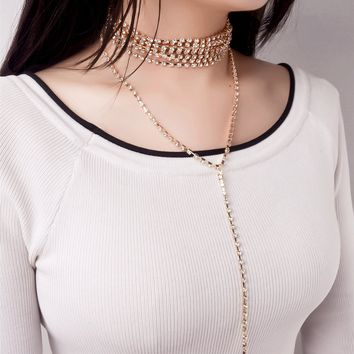 171124 Hot Pop Necklace, Diamond Multi Tassel Necklace  C1327