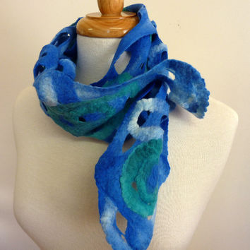 Blue Wool Scarf Felt Scarves on Etsy Mothers Day by sesenarts