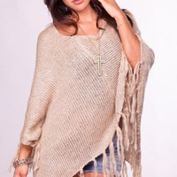 Beige Poncho Sweater with Sequin and Fringe Detail