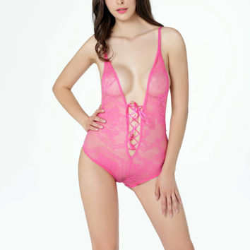 Pink Floral Lace Lace-Up Teddy Lingerie