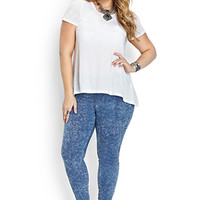 FOREVER 21 PLUS Fresh Acid Wash Jeggings Denim Washed 12