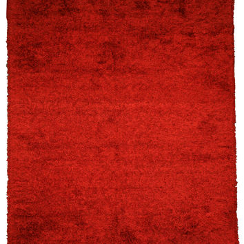 Red Contemporary Shaggy Rug