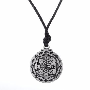 Lemegeton Vintage Round Flower of Life Pendant Rope Chain Anchor Puzzle Piece Necklace Women Fashion Jewelry