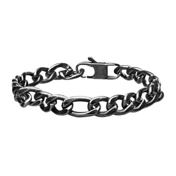 316L Stainless Steel Oxidized Antique 8mm Figaro Curb Bracelet 8.5""