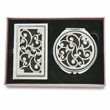 Swirl Crystal and Black Enamel Card Case And Mirror Gift Set