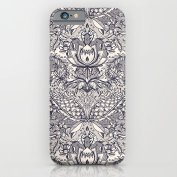 Natural Rhythm 2 - a hand drawn pattern in charcoal & cream iPhone & iPod Case by Micklyn