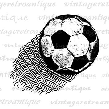Printable Soccer Ball Image Graphic Flying Soccer Ball Digital Sports Soccer Download Vintage Clip Art for Transfers etc HQ 300dpi No.4644