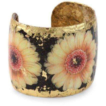 "EVOCATEUR ""The Gardens"" Yellow Daisy 22K Gold Leaf Bracelet - designer shoes, handbags, jewelry, watches, and fashion accessories 
