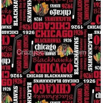Men's Unlined Surgical Scrub Hat Cap in Chicago Blackhawks Writing