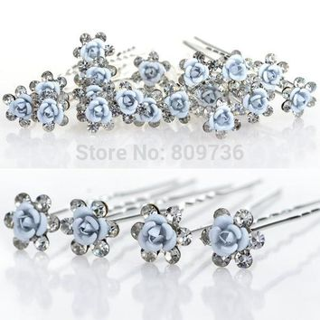 20pcs/lot Bridal Wedding Hair Pins Blue Rose Flower Crystal Hairpin Bridesmaid Women Hair Jewelry Party Cheap Gift hairpin