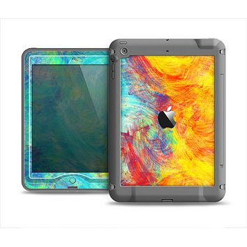 The Vibrant Colored Messy Painted Canvas Apple iPad Air LifeProof Nuud Case Skin Set
