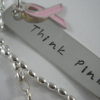 Think Pink  Cancer Awareness  Necklace by MomOf4BoysDesigns