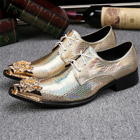 Lace Up Gold Wedding Shoes Men Loafers Leather Zapatos De Los Hombres Plus Size Chaussure Homme 2017 Formal Mens Dress Shoes