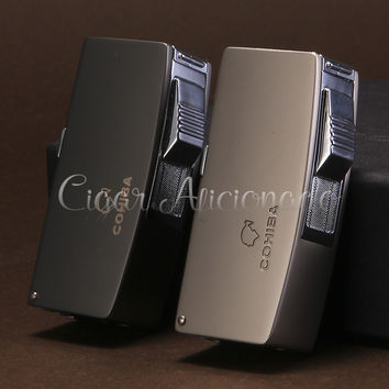 COHIBA Gadgets Metal Butane Gase Windproof Double Torch Jet Flame Cigarette Cigar Lighter with 3 Cigar Punch