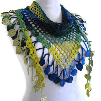 Crocheted Blue green and yellow Bamboo Lace Scarf ,Holiday Accessories,gift,valentines day, winter trends, fashion, 2012