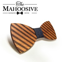 Striped Wooden Bowtie