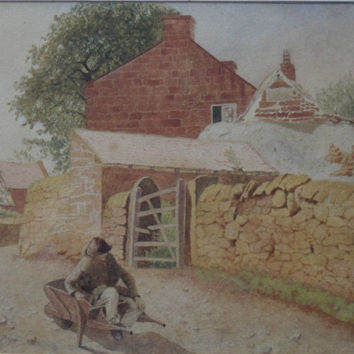 19th Century Wartercolour attributed to William Huggins. Wonderfully executed rural scene featuring boy sitting in wheelbarrow