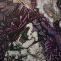 """""""Amethyst Surprise Geode"""" by Crystal Dombrosky, Acrylic on Canvas"""