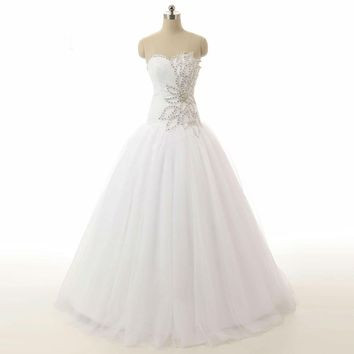 Elegant Ball gown Sweetheart Crystal Beaded Tulle Wedding Dresses Lace Up Back Bridal Gowns Wedding Dress
