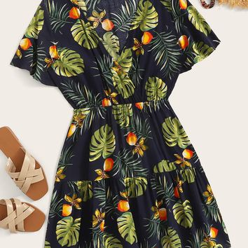 Surplice Fruit & Plants Print Ruffle Hem Dress