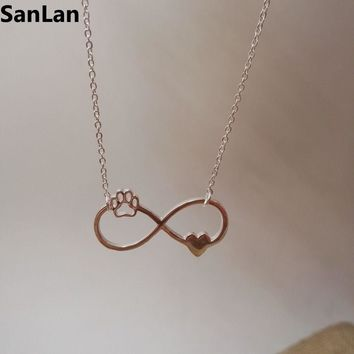 Beautifully Animal vintage jewelry Infinity Pendant Necklaces love Cats and Dogs Paws and heart  Heartbeat necklace  dog SanLan