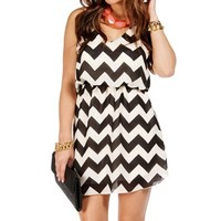 BlackWhite Chevron 2 Strap Dress