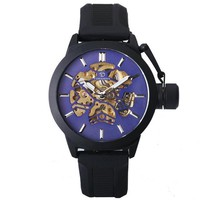 """""""THE NEW WORLD""""    Skeleton Automatic Watch with Stem Protector"""