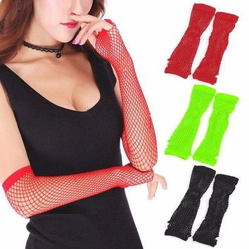 ac DCCKO2Q New Party Lace Fingerless Fishnet Gloves Mittens Sexy Women Lady Punk Dance Costume Black, Red, Fluorescent Green
