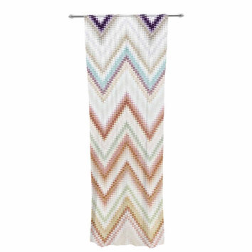 "Nika Martinez ""Seventies Chevron"" Beige Pattern Decorative Sheer Curtain"