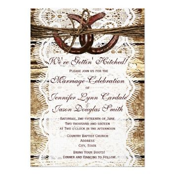 Rustic Country Wood Horseshoe Wedding Invitations