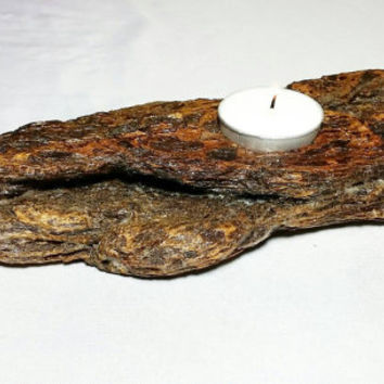 Reclaimed Bark Driftwood Tealight Candle Holder/Beach Rustic Cottage Candle Holder/Burnt Upcycled Pacific Ocean Wood Home Decor/Center Peice
