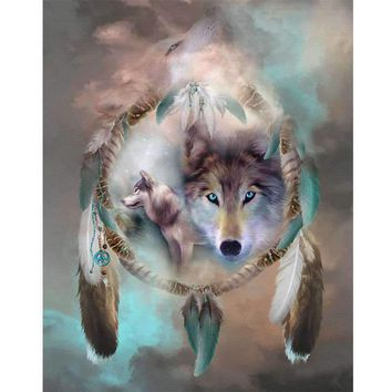 Colorful Wolf Eagle Diamond DIY 5D Painting Craft Embroidery Cross Stitch Home Decor Kits NEW